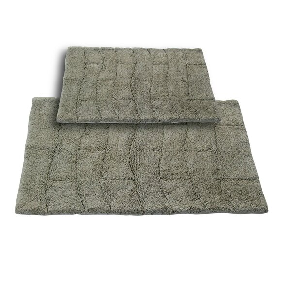 Brooks 2 Piece 100% Cotton New Tile Spray Latex Bath Rug Set by The Twillery Co.